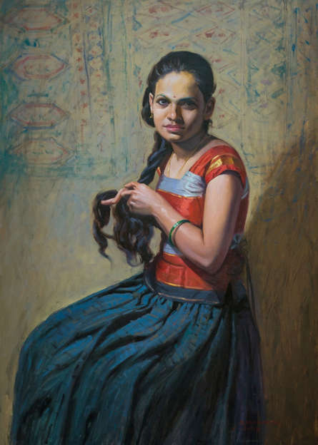 Figurative Oil Art Painting title 'Beauty' by artist Mahesh Soundatte