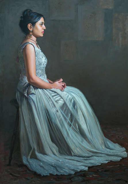 Figurative Oil Art Painting title Beauty 3 by artist Mahesh Soundatte