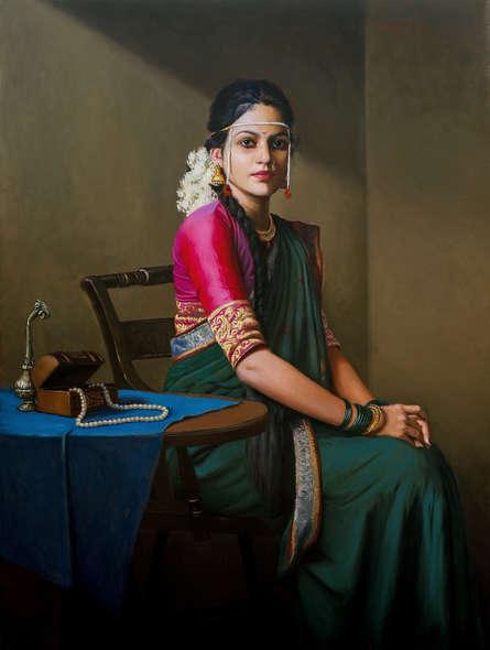 Figurative Oil Art Painting title Bridal by artist Mahesh Soundatte