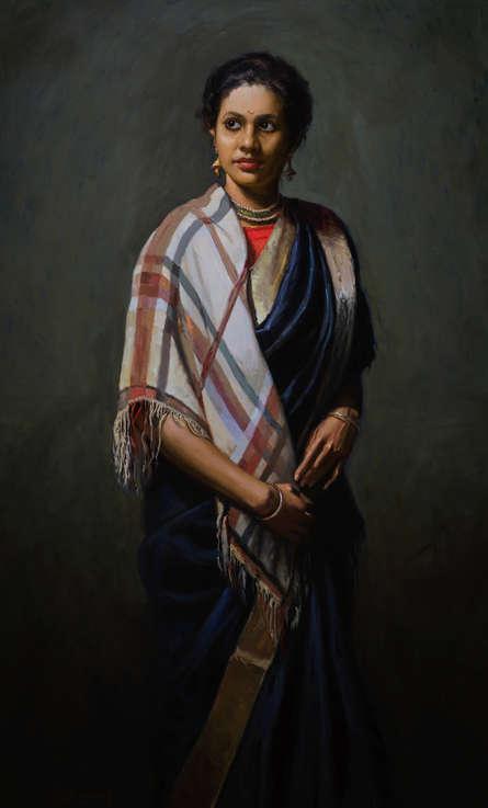 Figurative Oil Art Painting title 'Gayatri' by artist Mahesh Soundatte