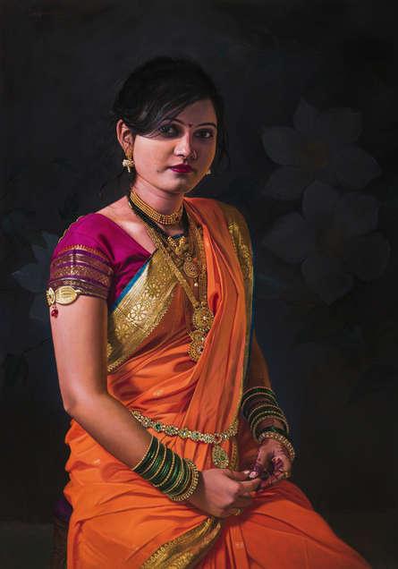Figurative Oil Art Painting title 'Maharashtrian Girl' by artist Mahesh Soundatte