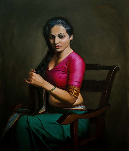 Figurative Oil Art Painting title Shringar by artist Mahesh Soundatte