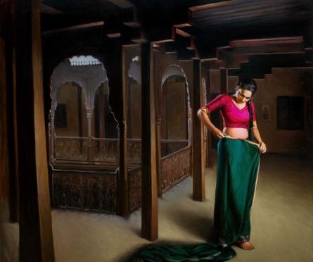Figurative Oil Art Painting title Shringar 2 by artist Mahesh Soundatte
