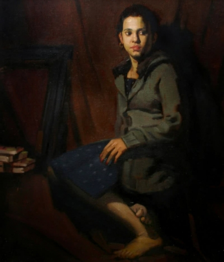 Sitting Lady 1 | Painting by artist Mahesh Soundatte | oil | Canvas