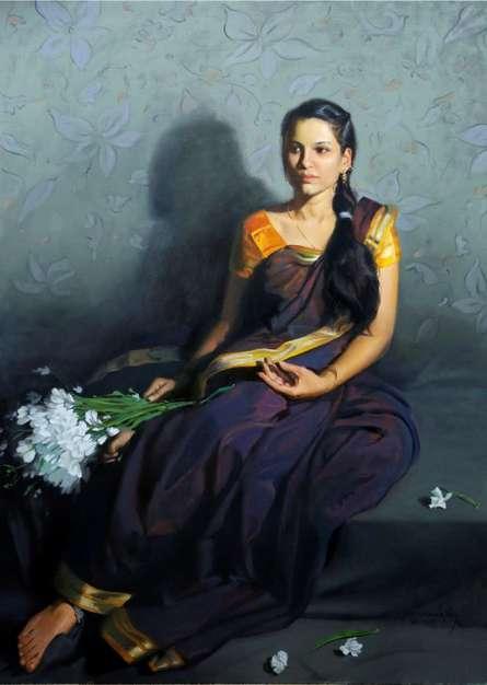 Figurative Oil Art Painting title Sitting Lady 2 by artist Mahesh Soundatte