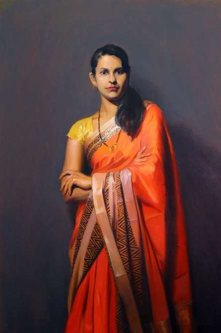 Standing Lady 1 | Painting by artist Mahesh Soundatte | oil | Canvas