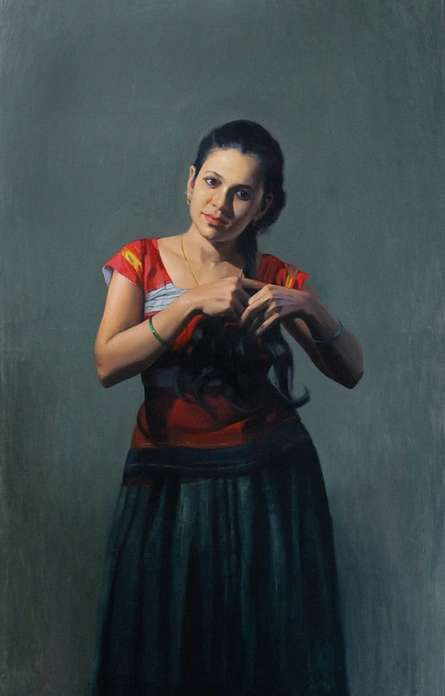 Figurative Oil Art Painting title 'Standing Lady 2' by artist Mahesh Soundatte