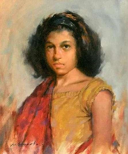 Figurative Oil Art Painting title 'Stare' by artist Mahesh Soundatte