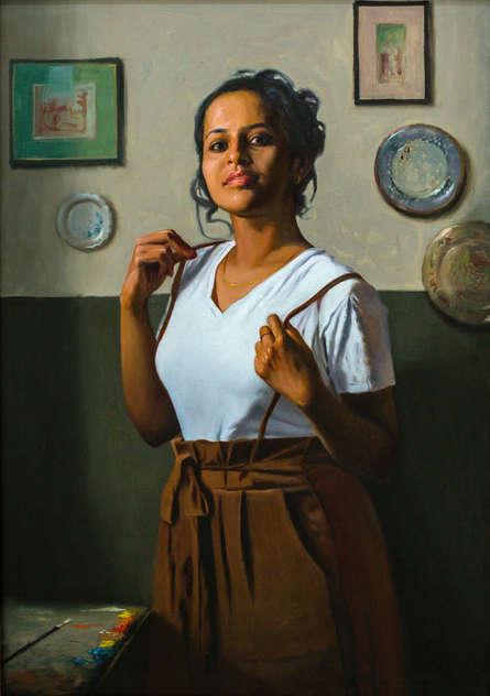 Figurative Oil Art Painting title The Artist by artist Mahesh Soundatte