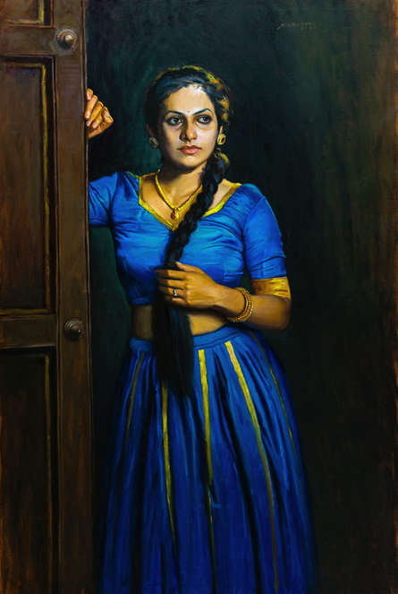 Figurative Oil Art Painting title Untitled by artist Mahesh Soundatte