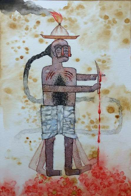 contemporary Watercolor Art Painting title Untitled 11 by artist Sagar Kamble