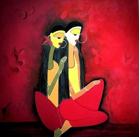 Figurative Acrylic Art Painting title 'Twin Love' by artist Rangoli Garg
