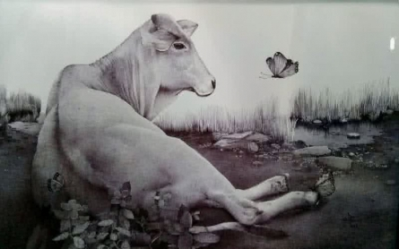 Animals Pen Art Drawing title 'Cow' by artist Nagesh Devkar