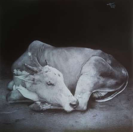 Animals Pen Art Drawing title 'Sleeping Cow' by artist Nagesh Devkar
