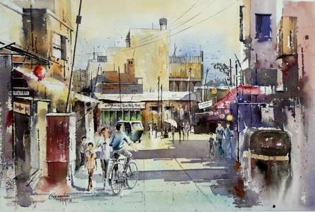 Cityscape Watercolor Art Painting title MARKET by artist SIDDHANATH TINGARE