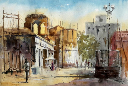 Landscape Watercolor Art Painting title Untitled by artist Siddhanath Tingare