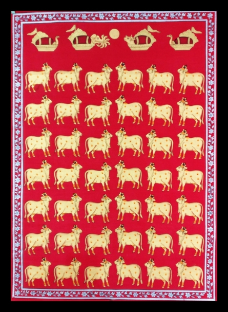 Traditional Indian art title Cows In Red And Gold on Cloth - Pichwai Paintings