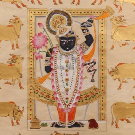 Traditional Indian art title Gopashtami In White And Gold on Cloth - Pichwai Paintings