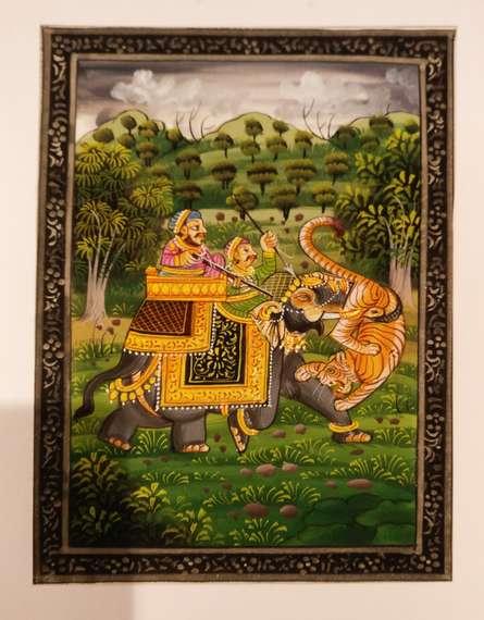 Hunting scene from rajputana era | Painting by artist Unknown | watercolor | silk
