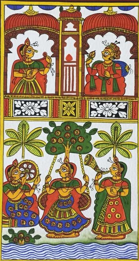 Traditional Indian art title King And Queen 1 on Cloth - Phad Paintings