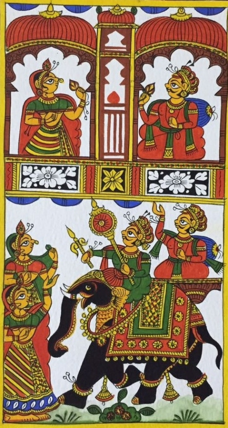 Traditional Indian art title King And Queen 3 on Cloth - Phad Paintings