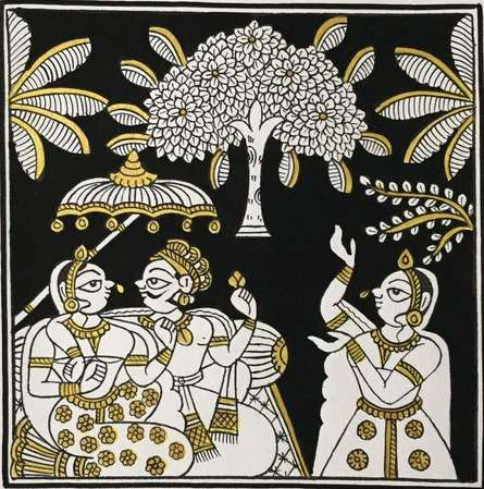 Unknown | Phad Traditional art title King And Queen In Black And Gold on Cloth | Artist Unknown Gallery | ArtZolo.com