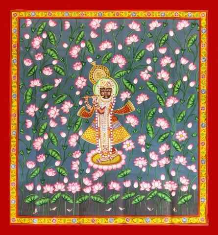 Traditional Indian art title Krishna In Kamal Talai on Cloth - Pichwai Paintings