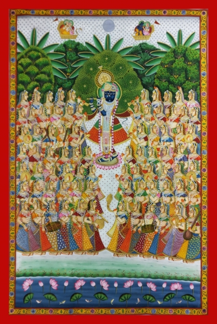 Unknown | Pichwai Traditional art title Krishna With Gopis In Vrindavan on Cloth | Artist Unknown Gallery | ArtZolo.com