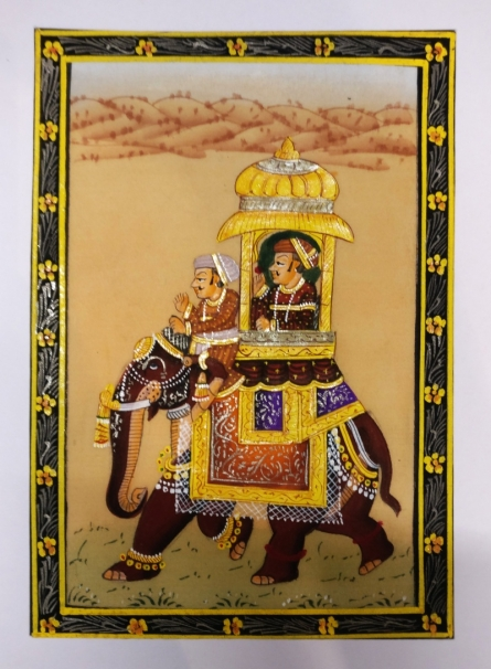 Folk Art Watercolor Art Painting title 'Elephant procession during royal times' by artist Unknown