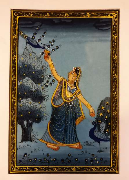 Folk Art Watercolor Art Painting title Radha dancing with peacocks Miniature by artist Unknown