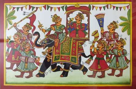 Traditional Indian art title Royal Procession 2 on Cloth - Phad Paintings