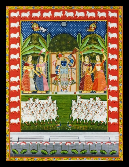 Unknown | Pichwai Traditional art title Sharad Purnima 1 on Cloth | Artist Unknown Gallery | ArtZolo.com