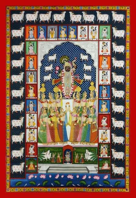 Traditional Indian art title Shrinathji 24 Shringar on Cloth - Pichwai Paintings