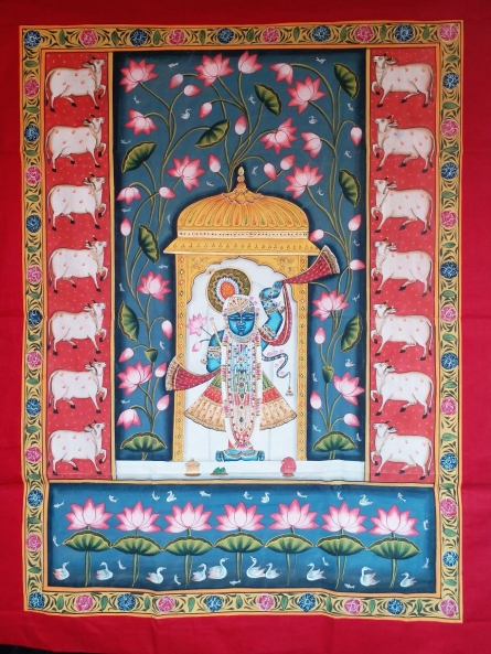 Traditional Indian art title Shrinathji In Haveli With Lotus In Backg on Cloth - Pichwai Paintings