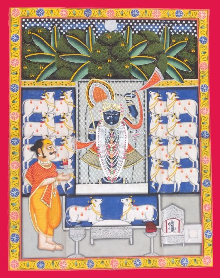 Unknown | Pichwai Traditional art title Shrinathji With Devotees And Kamdhenu on Cloth | Artist Unknown Gallery | ArtZolo.com