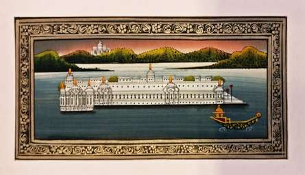 Udaipur lake palace - Miniature | Painting by artist Unknown | watercolor | silk