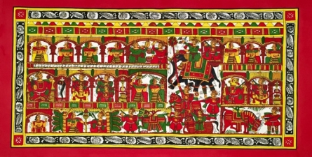 Traditional Indian art title Wedding Procession 2 on Cloth - Phad Paintings