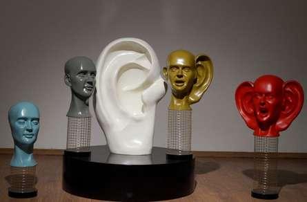 Fiberglass,SteelWire Sculpture titled 'Inner Voice' by artist Vivek Kumar