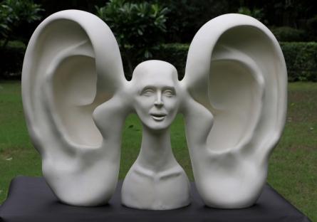 Vivek Kumar | My Voice 2 Sculpture by artist Vivek Kumar on Fiberglass | ArtZolo.com