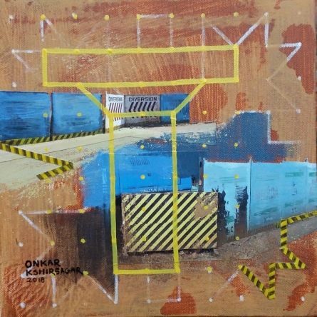Mixed Media Painting titled 'Culture Underconstruction 1' by artist Onkar Kshirsagar on Canvas
