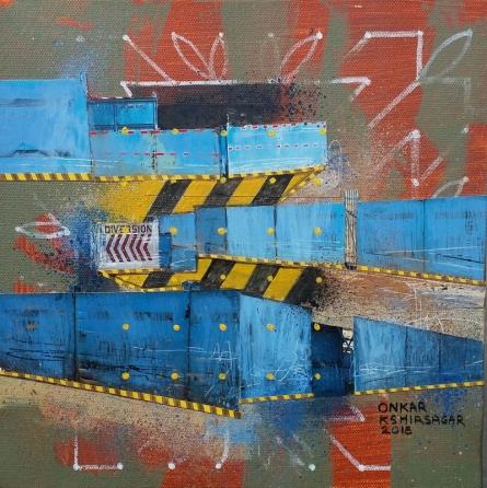 Mixed Media Painting titled 'Culture Underconstruction 4' by artist Onkar Kshirsagar on Canvas