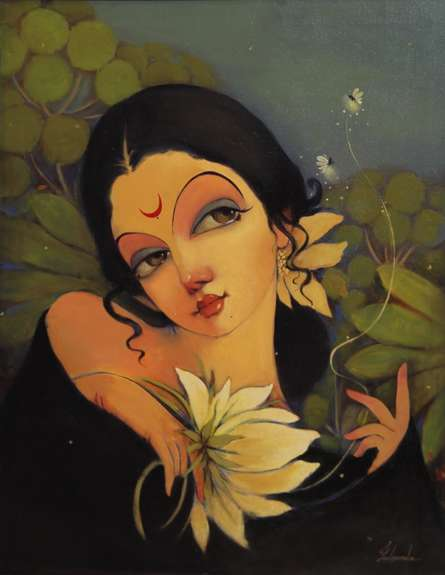 Figurative Oil Art Painting title 'Essence Of Emotions' by artist Renuka Fulsounder