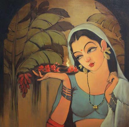 Figurative Oil Art Painting title 'Mangalya' by artist Renuka Fulsounder