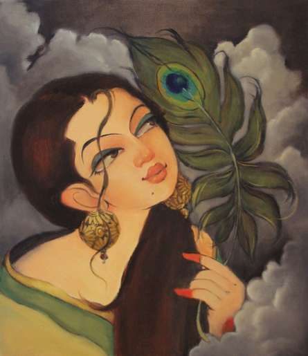 Figurative Oil Art Painting title 'Radhika' by artist Renuka Fulsounder