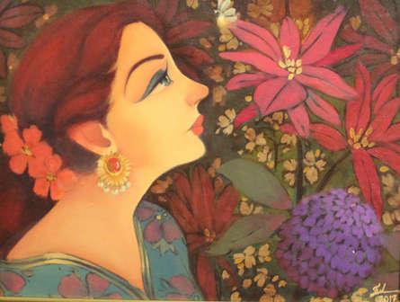 Figurative Oil Art Painting title 'Suman' by artist Renuka Fulsounder