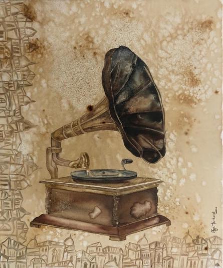 Still-life Coffee & watercolor Art Painting title Gramophone by artist Fawad Tamkanat
