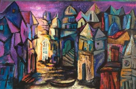 Cityscape Acrylic Art Painting title 'Silent Town 1' by artist Fawad Tamkanat