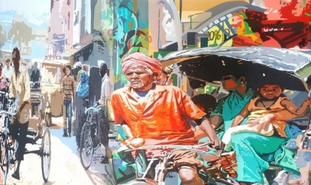Cityscape Acrylic Art Painting title Street 2 by artist Fawad Tamkanat