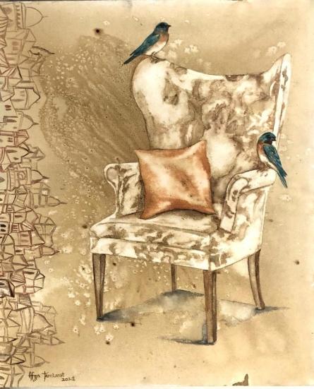 Still-life Coffee & watercolor Art Painting title Untitled 1 by artist Fawad Tamkanat