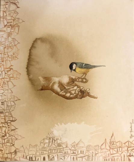 contemporary Coffee & watercolor Art Painting title Untitled 2 by artist Fawad Tamkanat